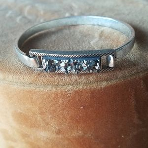Distressed silver with pyrite druzy